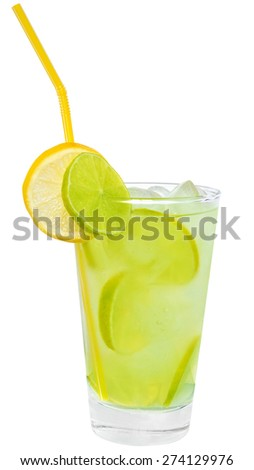 Lemonade with lime and ice cubes on white background.