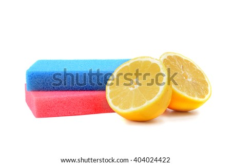 lemons and sponges isolated white background cleaning concept - stock photo