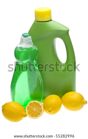 Lemons are a Natural Environmentally Friendly Way to Clean Your Home.  File is Isolated on White with a Clipping Path.
