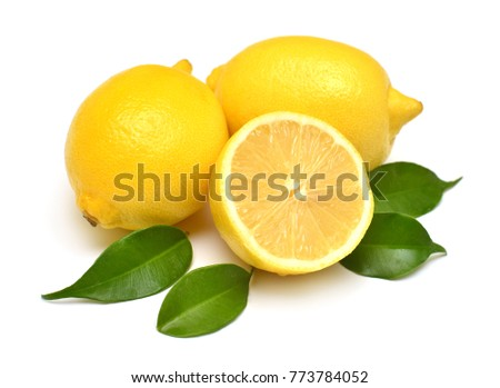Lemons beautiful whole and sliced with leaves isolated on white background. Vitamin C. Tropical useful fruit. Flat lay, top view