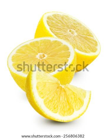 Lemons Fruit ,isolated on white - stock photo