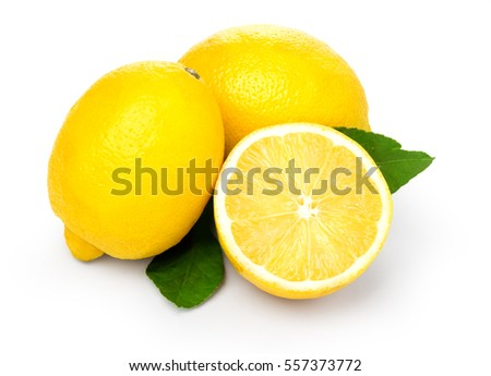 Lemons with leaves on a white background. With clipping path