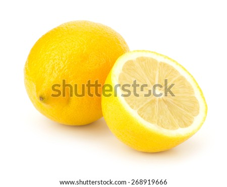 Lemons with slices isolated on white background