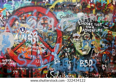 Lennon Wall in Prague's Lesser Town, which is a reference to singer John Lennon from the 70s of the 20th century there are inscriptions and paintings.Captured: Prague Czech Republic: 27.september 2015