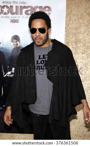 "Lenny Kravitz at the Season 7 Premiere of ""Entourage"" held at the Paramount Pictures Studios in Hollywood, California, United States on June 16, 2010."