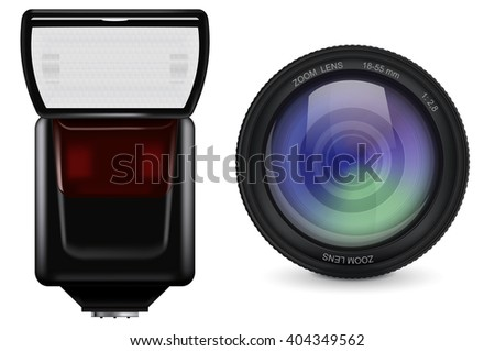 lens and flash. photographic accessories. Illustration isolated on white background. Raster version - stock photo