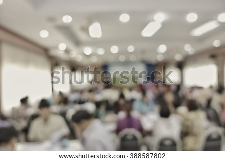 Lens blurred at teachers in education and media seminar and symposiums event - stock photo
