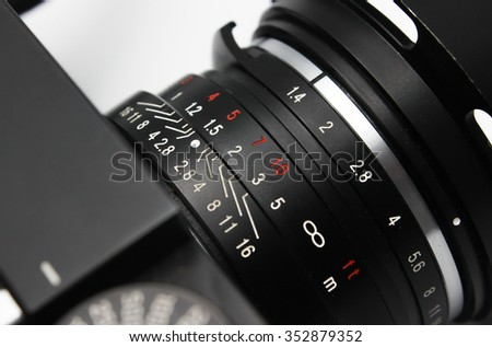 Lens Camera on white background