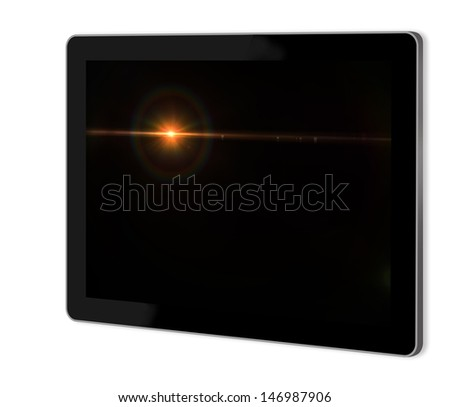Lens flare effect in  space  on screen of tablet  made in 3d software
