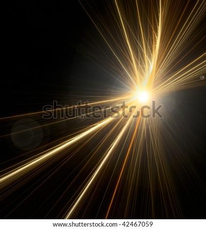 Lens flare lined fractal - stock photo