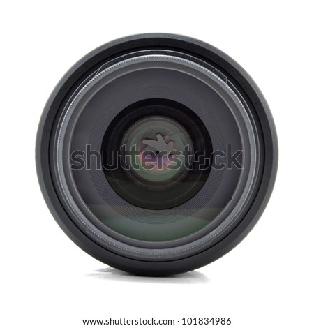 lens for the camera on a white background - stock photo