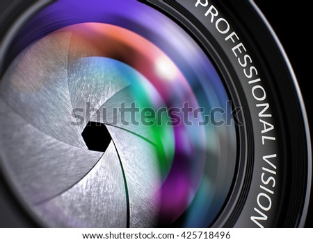 Lens of Digital Camera with Bright Colored Flares. Professional Vision Concept. Camera Lens with Professional Vision Concept, Closeup. Lens Flare Effect. Professional Vision Concept. 3D. - stock photo
