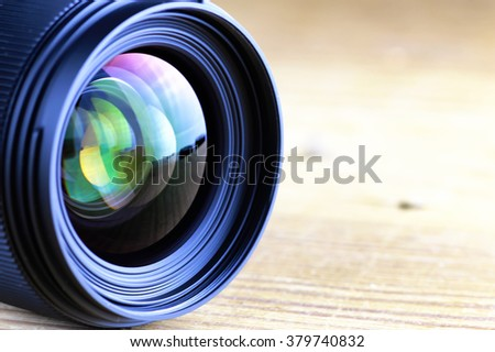 lens with color reflection photo - stock photo