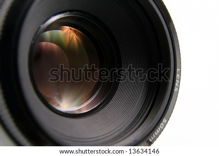 Lens, with refracted light and rainbow colors