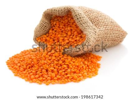 lentil in sack bag on white background - stock photo
