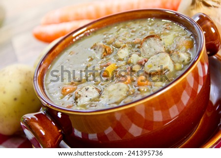 lentil soup - stock photo