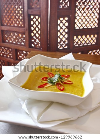 Lentil soup - consist of green, brown, red, yellow or black lentils. Dish popular in India. - stock photo