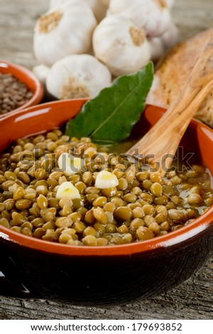 lentil soup on bowl - stock photo