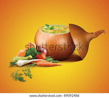 lentil soup with lots of vegetables - stock photo