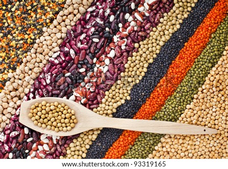 lentils,  beans,  peas, soybeans, legumes with spoons textured background