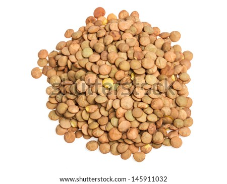 Lentils Isolated on White Background - stock photo