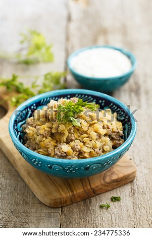 Lentils with minced meat - stock photo