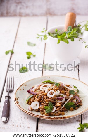 Lentils with onion and mint dressing. selective focus - stock photo