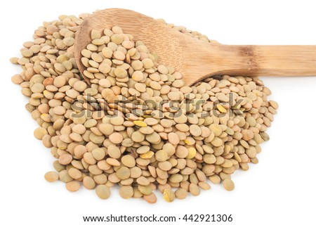 Lentils with wooden spoon