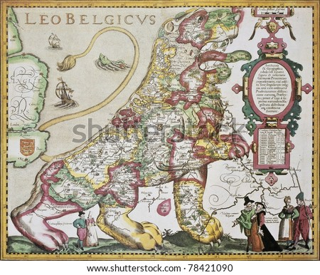 Leo Belgicus: Belgium and Netherlands old map in the form of a lion. Created by Pieter van der Kerre after Michael Aitzinger, published in Amsterdam, 1617 - stock photo