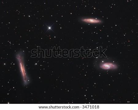 Leo galaxy triplet - stock photo