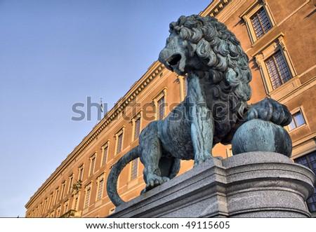 Leo guarding the royal palace - stock photo