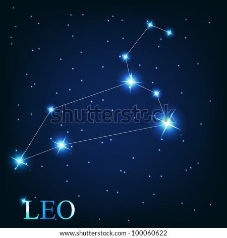Leo zodiac sign of the beautiful bright stars on the background of cosmic sky - stock photo