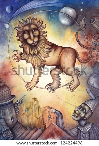 Leo. Zodiac sign, symbol in watercolor style. Part of a set ot 12. Illustration by Eugene Ivanov. - stock photo