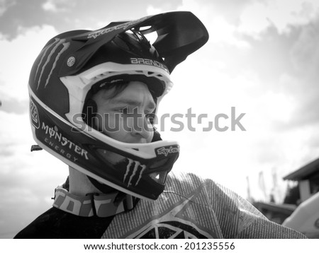 LEOGANG, AUSTRIA - JUNE 14, 2014: Brendan Fairclough of Gstaad-Scott is seen during training of the UCI Downhill Mountain Bike World Cup in Leogang, Austria.