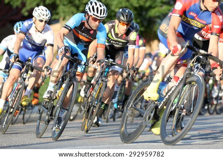 Leominster MA : Cyclists compete in the Longsjo Classic Criterium, a circuit race on closed course on June 26 2015 in Leominster MA - stock photo