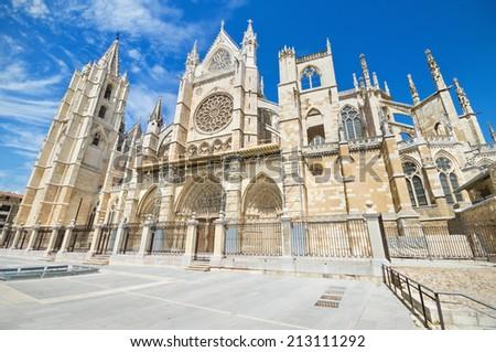 Leon Cathedral, Castilla y Leon, Spain. - stock photo