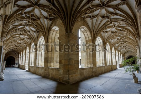LEON, SPAIN - MAR 23, 2015 : Cloister of the famous cathedral of Leon, Spain. The cathedral was built on the site of previous Roman baths of the 2nd century. - stock photo
