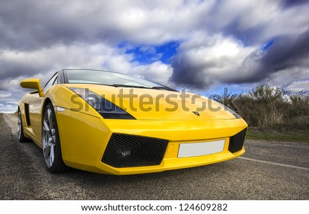 LEON, SPAIN - NOVEMBER 15: A Lamborghini Gallardo participating in the 4th concentration of the International Association of Supercars on November 15, 2012 in Leon, Spain - stock photo
