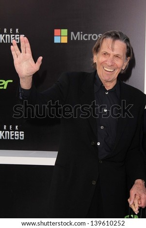 "Leonard Nimoy at the ""Star Trek Into Darkness"" Los Angeles Premiere, Dolby Theater, Hollywood, CA 05-14-13 - stock photo"