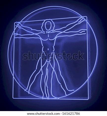 Leonardo Da Vinci's Vitruvian Man in a Blue Neon Tube, Homo Quadratus, 3d rendering on black background - stock photo
