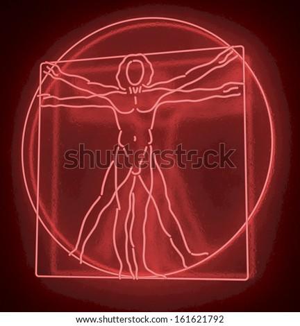 Leonardo Da Vinci's Vitruvian Man in a Red Neon Tube, Homo Quadratus, 3d rendering on black background - stock photo