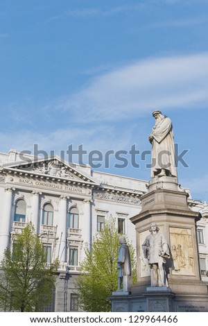 Leonardo da Vinci statue near La Scala opera at Milan, Italy - stock photo
