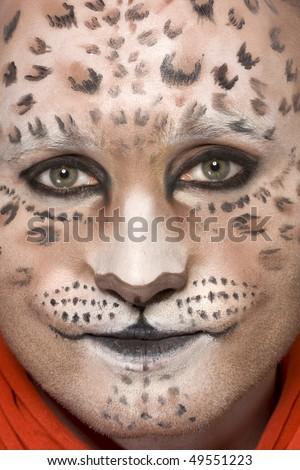 leopard animal makeup carnival - stock photo