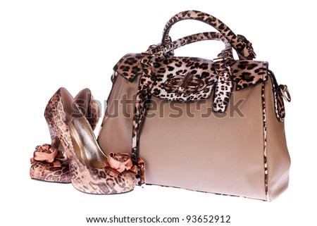 Leopard bag and shoes isolated on white background