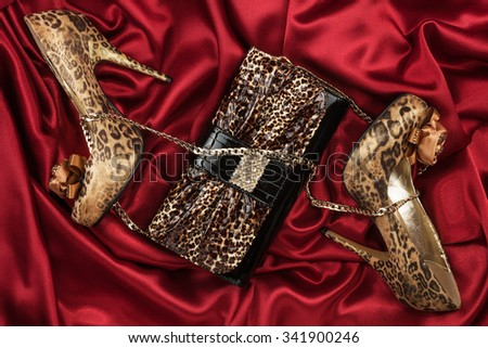 Leopard bag and shoes  lying on red  fabric, can use as background - stock photo