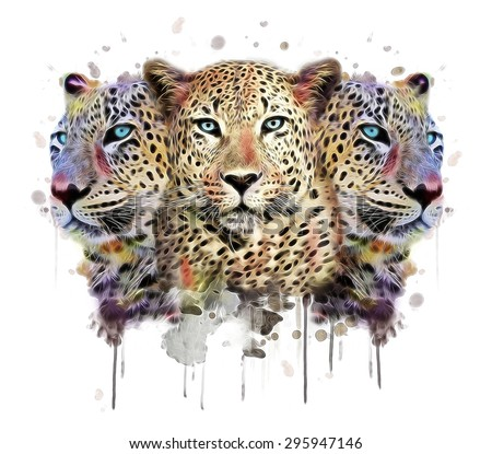 leopard illustration/leopard print/leopard graphic/Leopard canvas print/T-shirt graphic/wild life/flowing leopard/tattoo design/Artistic wild animal/watercolor leopard/watercolor print - stock photo