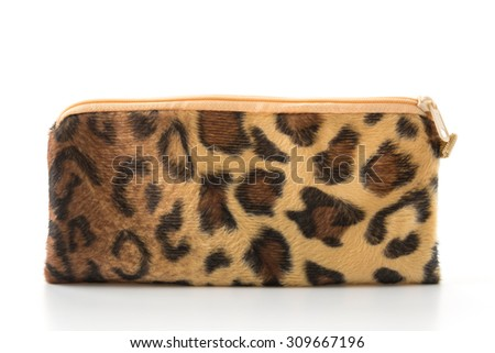 leopard zip bag on white background