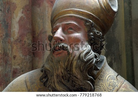 LEPOGLAVA, CROATIA - AUGUST 08: Saint Augustine of Hippo statue in the church of Immaculate Conception in Lepoglava, Croatia on August 08, 2017.