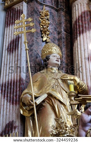 LEPOGLAVA, CROATIA - SEPTEMBER 21: Saint Albert the Great on the main altar of Holy Cross, parish Church of the Immaculate Conception of the Virgin Mary in Lepoglava on September 21, 2014 - stock photo