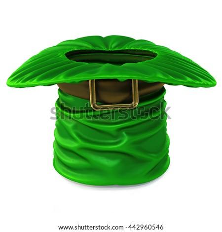 Leprechaun hat isolated on white background. 3D illustration. - stock photo
